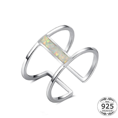Women Ring 925 Sterling Silver White Gold Plated Rectangle Opal Double Layer 6 Fine Ring