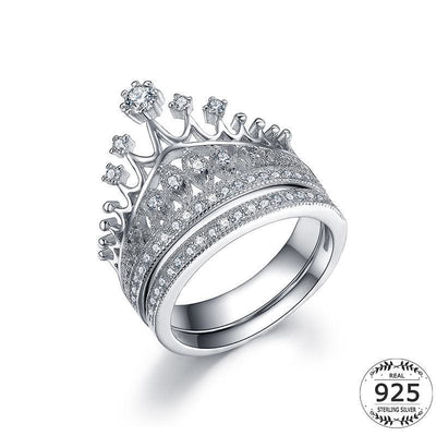 Women Ring 925 Sterling White Gold Plated Bridal Cubic Zircon Crown Ring Set 5 Fine Ring