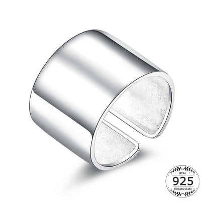 Women Ring Adjustable Plain Solid Open 925 Sterling Silver Wide Ring Band Fine Ring
