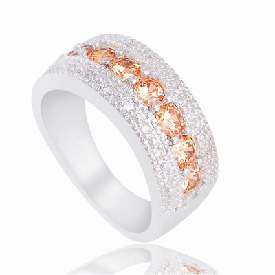 Women Ring Champagne Cubic Zirconia Cz Stone Jewelry 3 Stone Colors Rings
