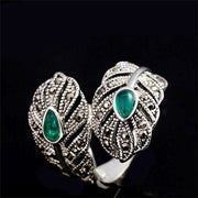 Women Ring Classic Bohemia Vintage Silver Color Leaf Green Zirconia 7 Rings