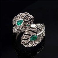 Women Ring Classic Bohemia Vintage Silver Color Leaf Green Zirconia Rings