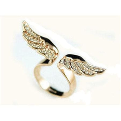 Women Ring Classic Pave Zirconia Gold Color Adjustable Angel Wings Micro 2 Colors Rings