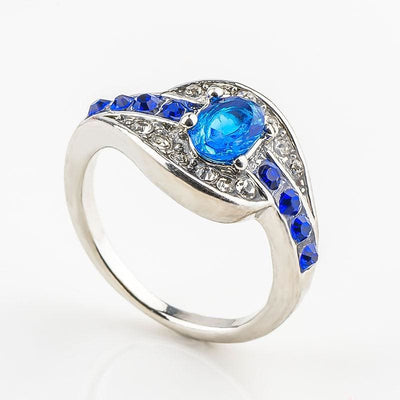 Women Ring Classic Unique Blue Oval Zirconia Stone Ring Silver Color 7 Rings