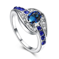 Women Ring Classic Unique Blue Oval Zirconia Stone Ring Silver Color Rings