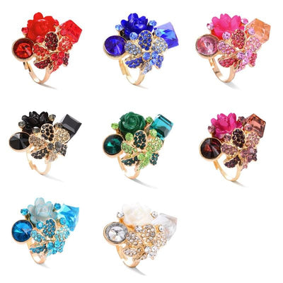 Women Ring Colorful Crystal Flower Party Ring Trendy Adjustable Ring Rings