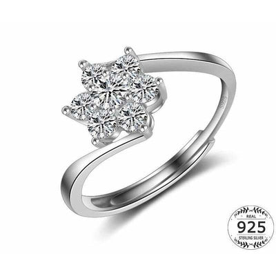 Women Ring Cubic Zirconia Flower Rings 925 Sterling Silver Adjustable Ring Resizable Fine Ring