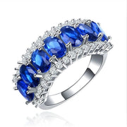 Women Ring Cz Stone Silver Color Classic Jewelry 7 Rings