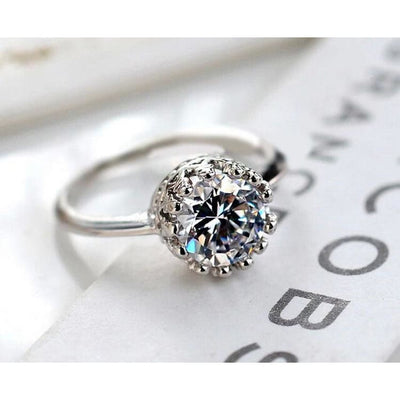 Women Ring Elegant White Silver Color Wedding Ring 7 Rings