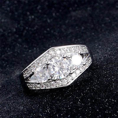 Women Ring Heart White Zirconia Engagement Ring 7 Rings