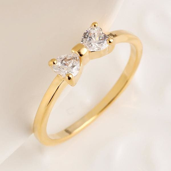 Women Ring High Quality Stainless Steel Austria Crystal Bow Shape Gold Color 6 Rings
