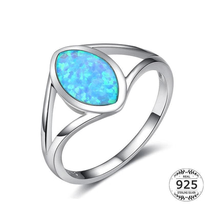 Women Ring Real 925 Sterling Silver White Gold Plated Large Blue Solitaire Opal Water Drop Gemstone Ring Band 6 Fine Ring