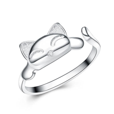 Women Ring Rhodium Plated 925 Sterling Silver Polished Finish Lucky Cat Band Fine Ring