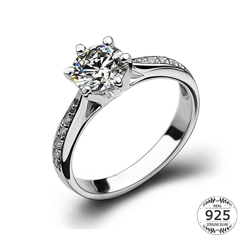 Women Ring White Gold Plated 925 Sterling Silver Solitaire Cubic Zirconia  Ring 5 Fine Ring 053254f940