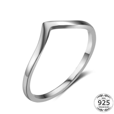 Women Ring White Gold Plated 925 Sterling Silver Triangle V Shape Ring 6 Fine Ring