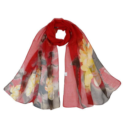 Women Scarf Chiffon Silk Shawl 8 Colors Red Scarves