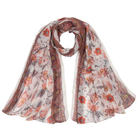 Women Scarf Flower Print Cotton Soft 6 Colors Beige Scarves