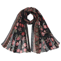 Women Scarf Flower Print Cotton Soft 6 Colors Black Scarves
