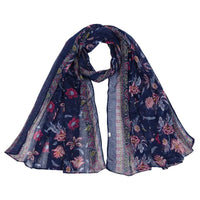 Women Scarf Flower Print Cotton Soft 6 Colors Dark Blue Scarves