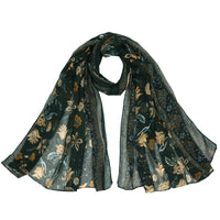 Women Scarf Flower Print Cotton Soft 6 Colors Green Scarves