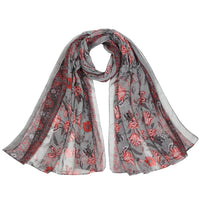 Women Scarf Flower Print Cotton Soft 6 Colors Grey Scarves