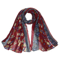 Women Scarf Flower Print Cotton Soft 6 Colors Red Scarves