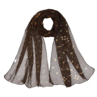 Women Scarf Flower Print Silk Chiffon Thin 7 Colors Coffee Scarves