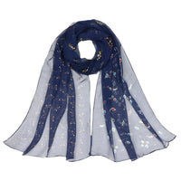 Women Scarf Flower Print Silk Chiffon Thin 7 Colors Dark Blue Scarves