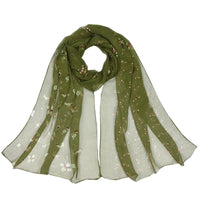 Women Scarf Flower Print Silk Chiffon Thin 7 Colors Green Scarves