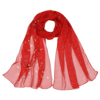 Women Scarf Flower Print Silk Chiffon Thin 7 Colors Red Scarves