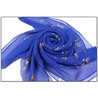 Women Scarf Flower Print Silk Chiffon Thin 7 Colors Scarves