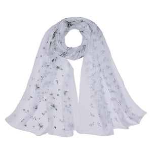 Women Scarf Flower Print Silk Chiffon Thin 7 Colors White Scarves