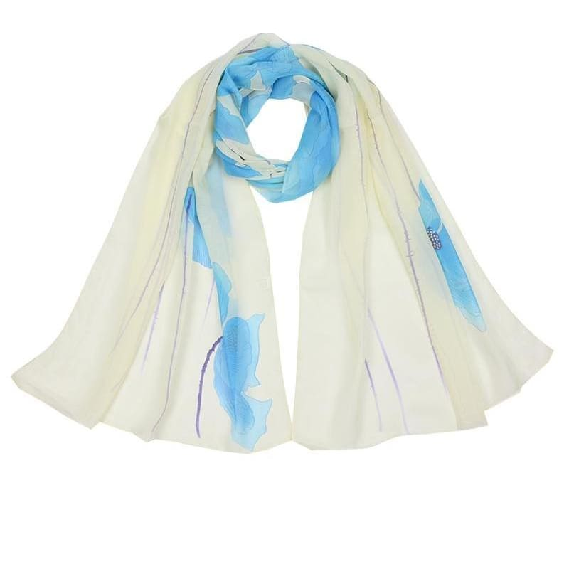 c810d9b4d2223 Women Scarf Flowers Print Chiffon Silk Oblong Scarves Shawl 3 Colors Blue  Scarves