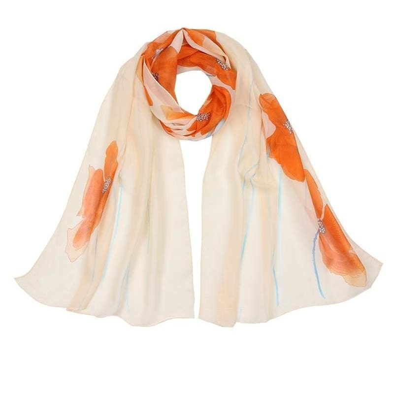 607366f26dce4 Women Scarf Flowers Print Chiffon Silk Oblong Scarves Shawl 3 Colors Orange  Scarves