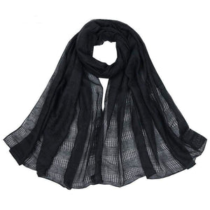 Women Scarf Plain Color Hollow Out Fringe Solid Scarf 12 Colors Black Scarves