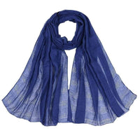 Women Scarf Plain Color Hollow Out Fringe Solid Scarf 12 Colors Blue Scarves