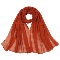 Women Scarf Plain Color Hollow Out Fringe Solid Scarf 12 Colors Orange Scarves