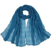 Women Scarf Plain Color Hollow Out Fringe Solid Scarf 12 Colors Sky Blue Scarves