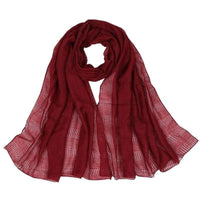Women Scarf Plain Color Hollow Out Fringe Solid Scarf 12 Colors Wine Scarves
