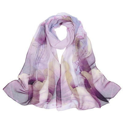 Women scarf silk ombre floral style chiffon luxury scarf 6 colors purple scarves