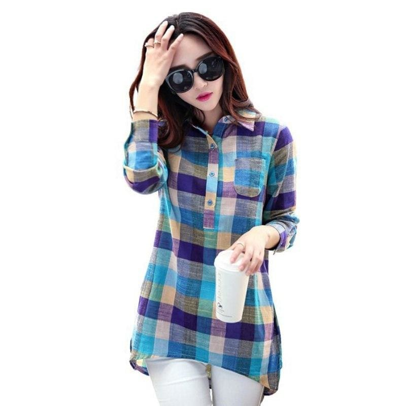 Women Shirt Sexy Plaid Shirts Long Sleeve Cotton As Shows / L Fall Sweater