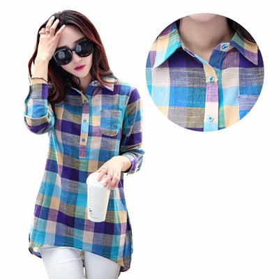 Women Shirt Sexy Plaid Shirts Long Sleeve Cotton Fall Sweater