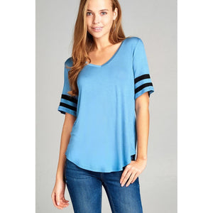 Women Short Double Stripe Sleeve V-Neck Top Tops