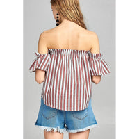 Women Short Sleeve Off The Shoulder Multi Stripe Top Tops