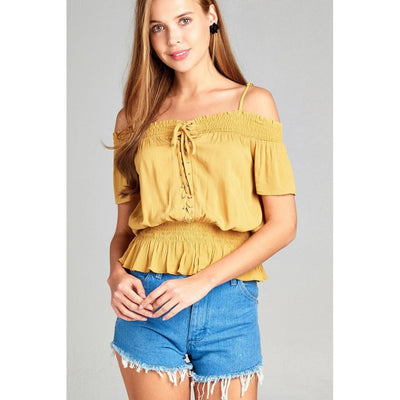 Women Short Sleeve Open Shoulder Smocked Detail W/eyelet Woven Top Tops