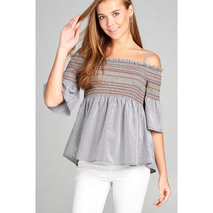 Women Short Sleeve Open Shoulder W/special Smoked Stripe Woven Top Tops