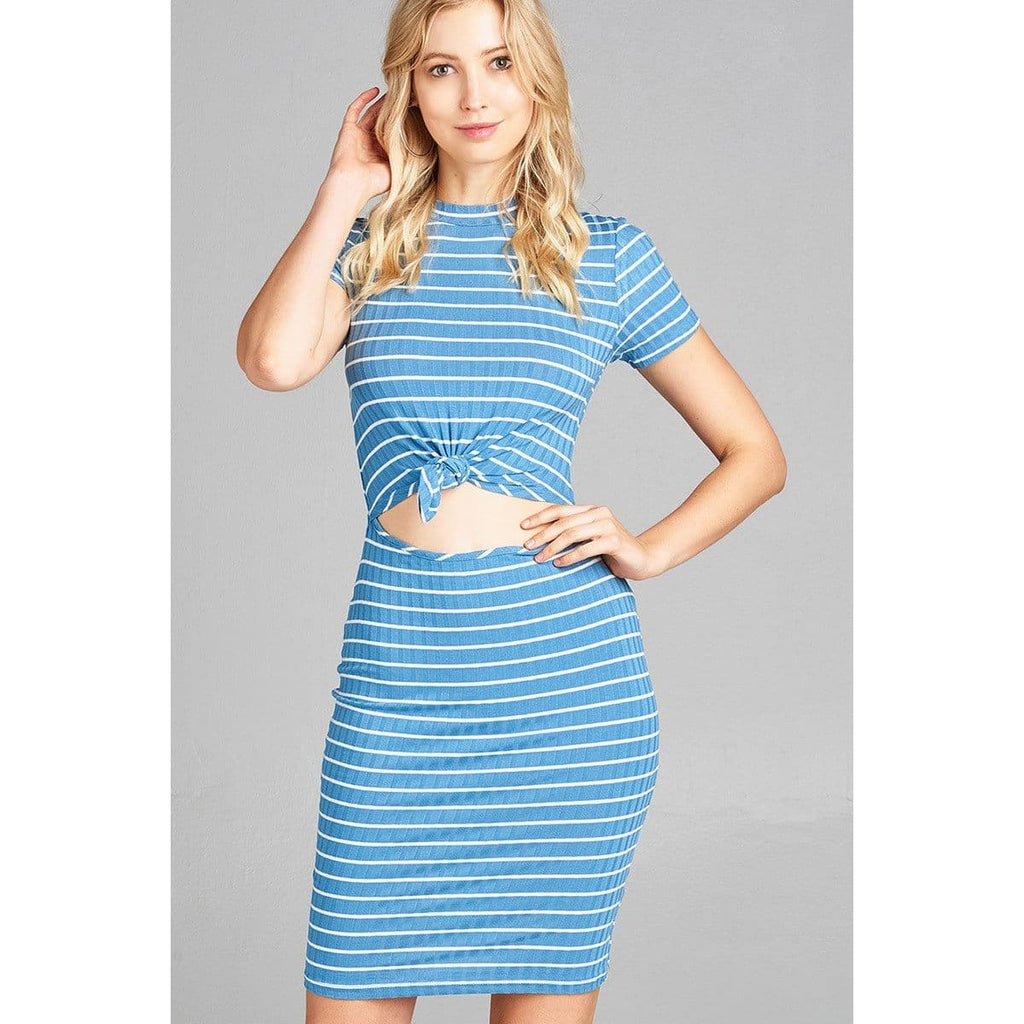 Women Short Sleeve Round Neck Front Hold W/self Tie Stripe Ribbed Midi Dress Dresses