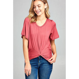 Women Short Sleeve Round Neck Front Twisted Top Tops