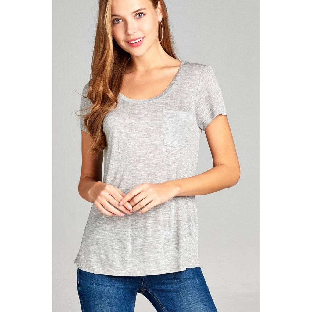 Women Short Sleeve Scoop Neck W/pocket Slub Top Tops