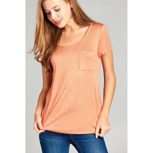 Women Short Sleeve Scoop Neck W/pocket Top Tops